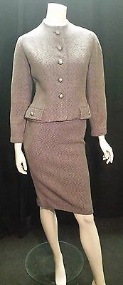 Vintage 1940's Wool Tweed 2 piece suit SIZE: UK 6 8 Jacket and Pencil Skirt 50's