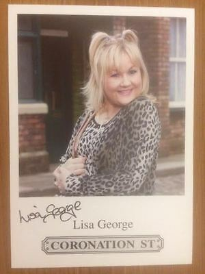 "Lisa George Coronation Street Pre-Printed Signature Cast Card 6"" X 4""."