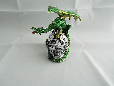 Mythical Knights Helmet With Dragon On Top Gothic Ornament Figurine Green