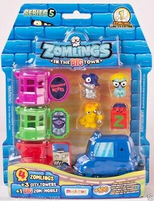 ZOMLINGS Serie 5, STARTER (1 Limited Edition + 3 Zomlings + 3 Torres) + Extras
