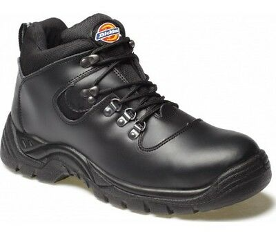 Dickies Fury Safety Work Boots Black Leather Work Shoes Lace Steel Toe Cap SRA
