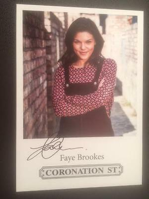 "Faye Brookes Coronation Street Pre-Printed Signature Cast Card 6"" X 4""."