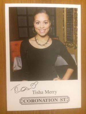"Tisha Merry Coronation Street Pre-Printed Signature Cast Card 6"" X 4""."