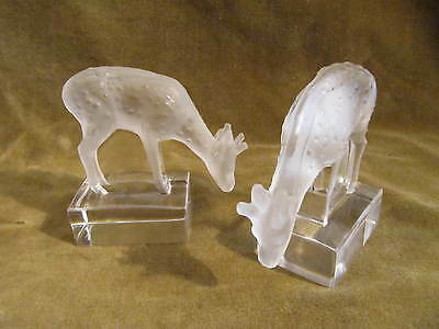 vintage french crystal 2 does / fawns figurines Lalique france