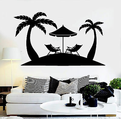 Vinyl Wall Decal Palms Beach Relax Tropical Tree Stickers Mural (ig4468)