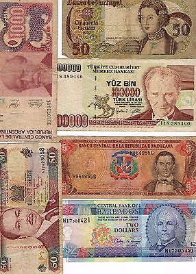 6  Old Banknotes Various Countries Used