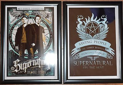 Supernatural A4 Framed TV Series Pictures - (Pair)