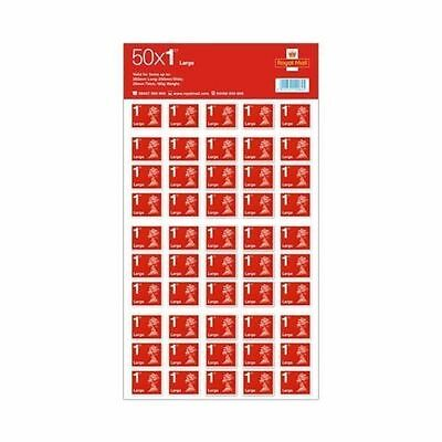 50 x Large Letter 1st Class Self Adhesive Stamp Sheet