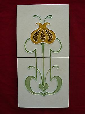 Antique Majolica Art Nouveau Two Tile Panel Stylised Flower Poppy / Pomegranate