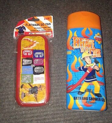 Fireman Sam spoon/ fork set in travel case & 400ml bath / shower gel
