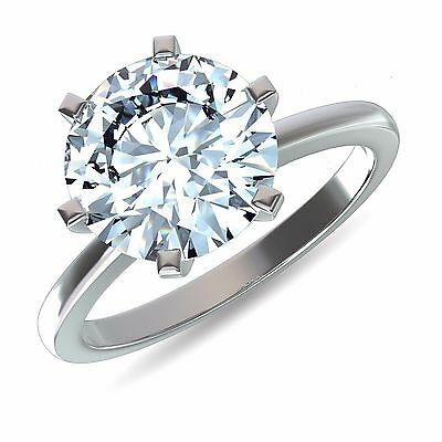 14k Solid White Gold Round Cut 2 Ct Solitaire Diamond Wedding Engagement Ring