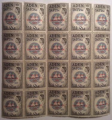 ADEN Sh. 1/ 25c Stamps X 20,OVERPRINTED REVISED CONSTITUTION. Mint Unhinged