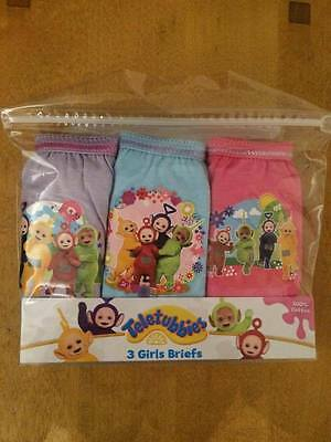 BNIP 3 Pack Girls Teletubbies Pants Knickers Briefs Age 18-24 Months 100% Cotton