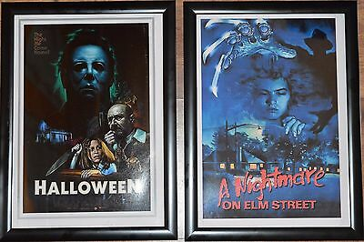 Horror Classics A4 Framed Movie Pictures - Halloween/Nightmare on Elm Street