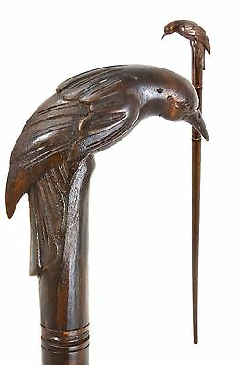 Bird walking stick / cane - Hand carved from East Indian Rosewood