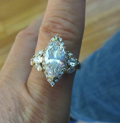 Vintage sterling silver gold plated HUGE marquise CZ ring 925 NICE size 9