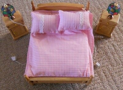 Selection Of 1/12th Dolls House Furniture - Bedroom Bed, Cabinets and Lights.