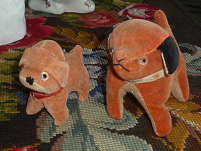 Pair Of Antique Vintage Primitive Velvet Dogs With Glass Eyes