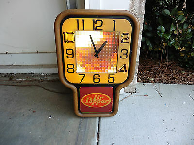 1970s Dr Pepper Soda Lighted Motion Clock Sign Animation Works Clock Needs Help