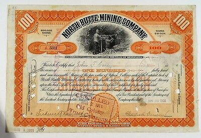 1906 North Butte Mining Company Stock Certificate