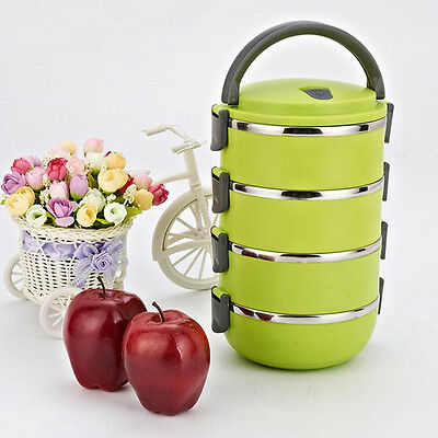 4 Layers Stainless Steel Thermal Insulated Bento Lunch Box Food Jar Container GE