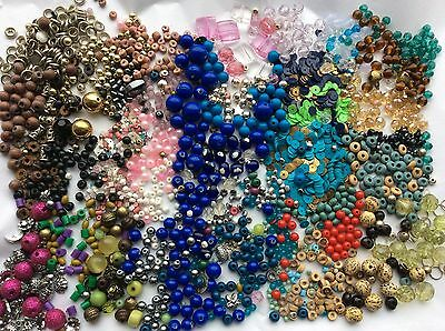 Job Lot 100s Small Beads & Parts For Jewellery Making Or Crafts 150c