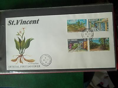 1981 2 X First Day Covers Of Arrowroot Plant From St Vincent