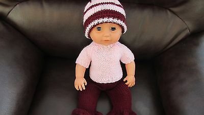 2002 tiny tears doll in new hand knit clothes