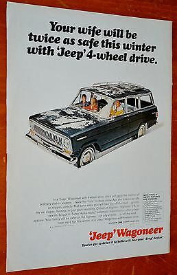 1966 Jeep Wagoneer 4X4 Ad With Wife Driving In The Snow / American 60S Vintage