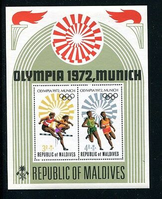 Maldive Islands 411, 1972 Olympic Games, S/s Of 2, Mnh, (Id0687)