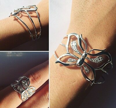 925 Sterling Silver Solid Butterfly Bangle And Ring Set