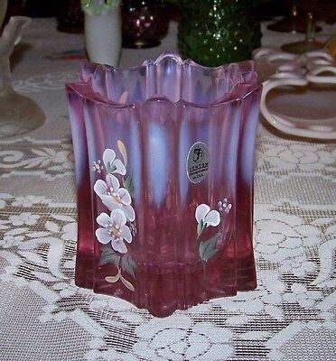 Vintage Cranberry Red to Frosted White Handpainted Fenton Vase Mint EXC