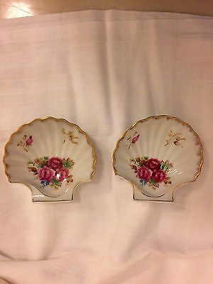 Vintage Small E W PRINCESS Occupied Japan Floral Dishes Soap Holders Ashtrays