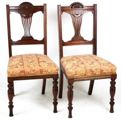 A pair of Edwardian Carved mahogany Dining Chairs - FREE Shipping [PL3041C]