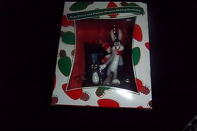 LOONEY TOONS Bugs Bunny & Playboy Penguin Skating Ornament WARNER BROS (RARE)
