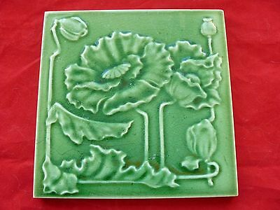 Antique Majolica Art Nouveau Green Tile Stylised Flowers & Poppy Heads - Trent