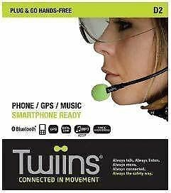 Twiins D2 Hands Free Motorcycle Scooter Bluetooth Phone Twin Speaker Head Set