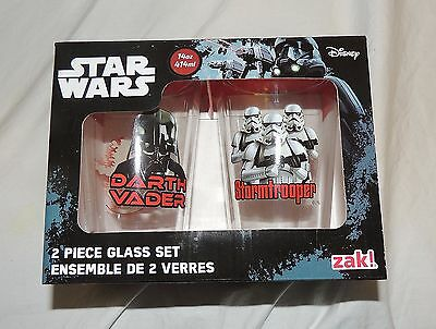 New Disney Star Wars Glassware Zak Darth Vader Stormtroopers 2pk 14oz