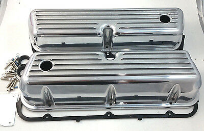 SB Ford SBF Finned Polished Aluminum Tall Valve Covers W/ Gaskets 289 302 351W