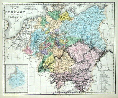 GERMANY, PRUSSIA, POLAND Gall & Inglis original antique hand coloured map c1850
