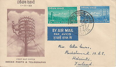 India-Finland 1-11-1953 Fdc Airmail Cover: Indian Post & Telegraphs