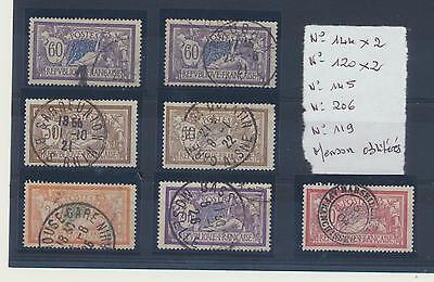 LOT Timbres France Type Merson N° 144 x2  - 120 x2  - 145 -206- 119