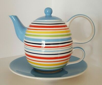 Whittard of Chelsea Striped Tea for One Teapot, Cup and Saucer