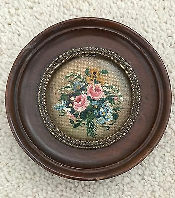 Antique Miniature Oil On Canvas In Lovely Circular Frame