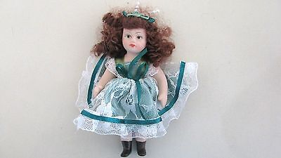 "Tiny Bisque Porcelain Doll - 5""- Jointed Arms & Legs - Brown Hair - Green Eyes"