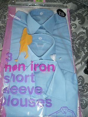 M/s/ School Age 4 Pale Blue Short Sleeve Non Iron (3)Blouses