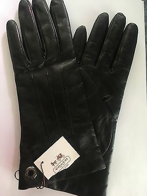 Women's Coach leather gloves medium black cashmere lined
