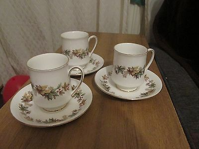 Royal Standard Fine China LYNDALE Coffee Cups And Saucers x 3