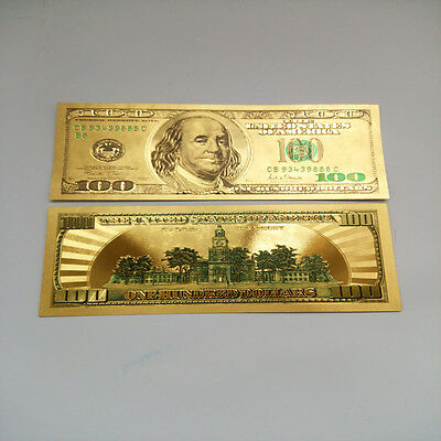 24K Pure  Colorized .999 GOLD US 100 Dollar Bill BANK NOTE $100 Free plastic ...