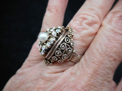 Authentic Vintage-1960's Antiqued Rhinestone & Faux Pearl Ring Adjustable